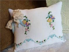 Vintage Linen Pillow Hand Embroidery | Forget Me Not Dreams