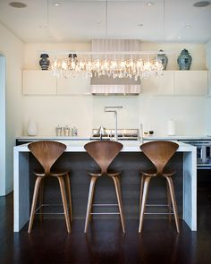Amazing Wooden Bar Stools with Square Marble Kitchen Islands: Stylish Wooden Bar Stools Furniture In Modern Kitchen Design Interior Complete...