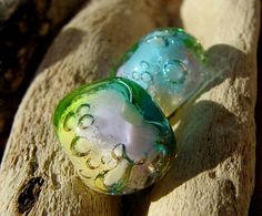 Lampwork Glass Beads Rainbow Nugget Bubbles UK