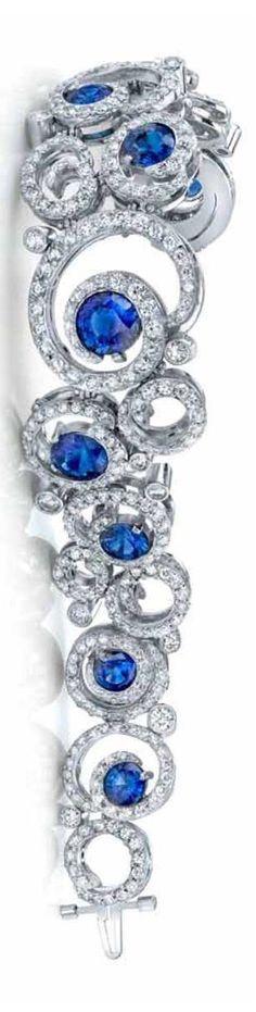 2011 AGTA Spectrum Award Winner Best Use of Platinum and Color - Sapphire & Diamond Bracelet by OMI Gems