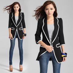 Black and white trim and long sections Slim small suit
