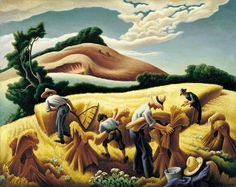 Art History News: September 2014 Benton's rhythmic composition Cradling Wheat (Saint Louis Art Museum) celebrates the beauty in hard, outdoor work. - Thomas Hart Benton