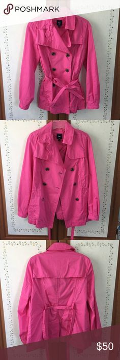 SALE* GAP pink trench coat This flamingo pink trench coat is a show stopper and will brighten up those chilly, rainy days! This item is a size M but can fit a small for a looser look. Amazing detailing and stitching and cute accent buttons on the front and sleeves. Item is in pristine condition, no flaws, worn maybe once if even. GAP Jackets & Coats Trench Coats