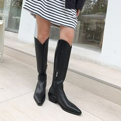 Fashion Leather Low Heel Cowboy Boots Knee High Boots for   Up2Step Flat Boots, Knee High Boots, Shoe Boots, Block Heel Boots, Boot Shop, Dress With Boots, Suede Heels, Low Heels, Cowboy Boots