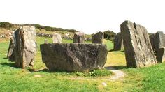 The recumbent stone in the foreground sits opposite the entrance portal, Drombeg Stone Circle,  Ireland