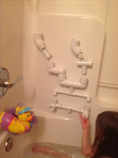 PVC Pipe Bath Toy - Use suction cups on the back of various pieces of pipe