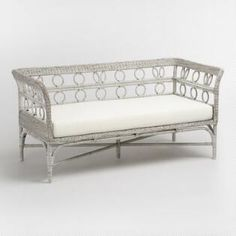 """Graywash Handwoven All Weather Wicker Cassis Bench    Overall: 59.84""""W x 29.53""""D x 28.74""""H,  499"""
