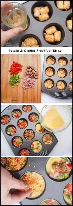 Potato Omelet Breakfast Bites - Preheat oven to 400 degrees; grease muffin tins. Bake tater tots for 15 min; chop up ingredients (can use mushrooms, onion, tomatoes, basil, ham, sausage, peppers). Remove tater tots from oven; lower temperature to 350 degrees. Add toppings; whisk together 8 eggs. 1/4 cup milk and salt and pepper to taste. Pour eggs in each tin. Bake until eggs are set.