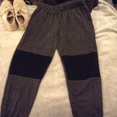 Joggers Cute gray joggers with black at knee caps. Worn once! H.i.p Pants