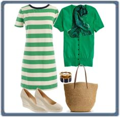 """Green Rugby Stripe"" by mrsmcbrown ❤ liked on Polyvore"