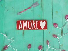 Decoración día de San Valentín / día de San Valentín firme / rústico signo / amore / granja decoración
