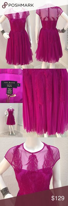 Ted Baker Langley Dress GORGEOUS Ted Baker fuschia dress. Sheer top with flower detail. Side zipper. Some tulle under the skirt for fullness. European size 3 but fits like a 4. Ted Baker London Dresses