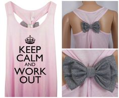 Other Bow Colors / Keep Calm and Work Out / Bow Tank Top / Workout Tank / Crossfit Tank Top / Gym Tank