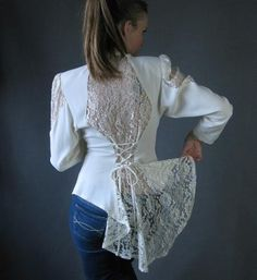 White lace steampunk top with corset lacing...love this idea for those too small steampunky vests...