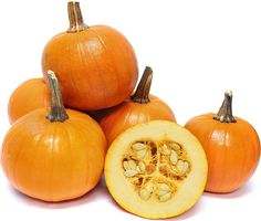 The smooth-skinned Pam pumpkin produces a heavy stem with a moderately hard rind and is round and uniform in size. Its orange flesh is extremely sweet in flavor with a tender, dry, string-less texture. Types Of Pumpkins, Personalized Address Labels, Sugar Pie, Baked Pumpkin, In The Flesh, Smooth Skin, Fruits And Veggies, Farmers Market, Cabbage