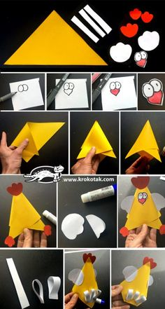 Diy Crafts For Home diy paper crafts for home decor Easter Activities, Easter Crafts For Kids, Activities For Kids, Diy Paper, Paper Crafting, Rooster Craft, Diy Niños Manualidades, Papier Diy, Chicken Crafts