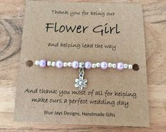 Flower Girl Gift Thank You Gift Delicate Bracelet Flower