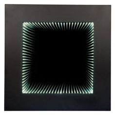 Wooden Square Wall Mirror with LED Infinity Lights - 829MR
