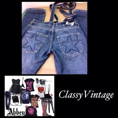 Abbey Dawn by Avril Lavigne suspender jeans Cheryl Uniquely different suspender jeans from Abbey Dawn by Avril Lavigne. Gently worn and tag size 3. Inseam 30 -top of pant 32 -hips 38 and rise 7 inches. No rips tears or stains. Abbey Dawn Jeans