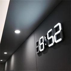 Modern Design LED Wall Clock Modern Digital Alarm Clocks Display Home Living Room Office Table Desk Night Wall Clock Display Wall Clock Light, Led Wall Clock, Desk Clock, Wall Clocks, Wall Clock Calendar, Wall Clock Decor, Digital Table Clock, Digital Wall, Digital Alarm Clock