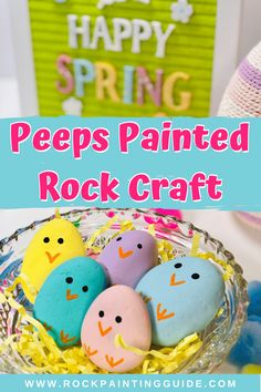 Easter Peeps Painted Rocks - Cute and easy to make Easter Peeps bunny and chicks painted rocks. Perfect for all ages and skill l - Rock Painting Supplies, Rock Painting Ideas Easy, Rock Painting Designs, Painted Rock Animals, Painted Rocks Craft, Easter Peeps, Easter Art, Easter Treats, Preschool Arts And Crafts