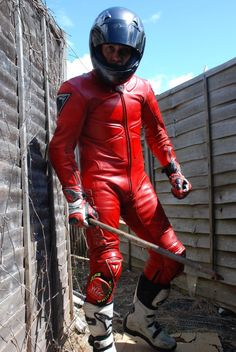 My red dainese safety pro. Motorcycle Wear, Motorcycle Leather, Biker Leather, Leather Men, Black Leather, Motorbike Leathers, Hot Cops, Biker Gear, Cool Suits