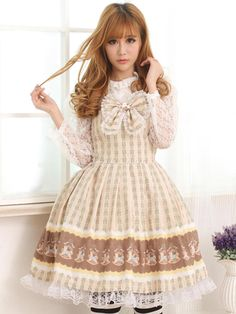 Sweet Light Brown Square Neck Bow Cute Lolita Jumper Skirt