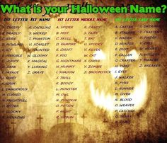 What is Your Halloween Name? Find Your Halloween Name! (Mine is Quiet Ghost Walker)