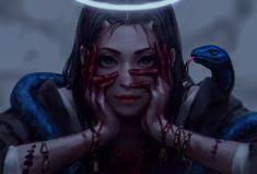 Guweiz - Home Fantasy Girl, Anime Fantasy, Dark Fantasy Art, Fantasy Artwork, Fantasy Women, Character Portraits, Character Art, Snake Girl, Digital Art Girl