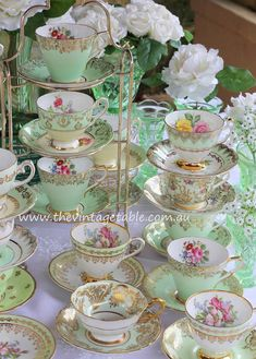 Vintage Mint Green Tea Cup Sets & Vintage Green Glass Vases for an afternoon tea party.