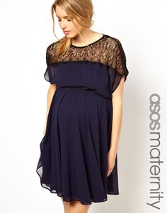 ASOS Maternity | ASOS Maternity Skater Dress With Scallop Lace Panel at ASOS