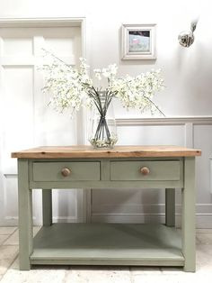 Sage Green Kitchen, Green Kitchen Island, Kitchen Island Table, Solid Oak Sideboard, Sideboard Table, Console Table, Refinished Desk, Painted Sideboard, Green Painted Furniture