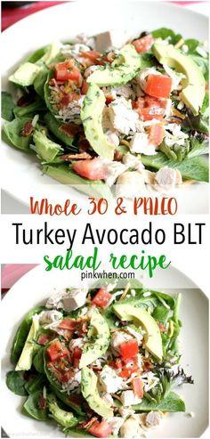 A Whole 30 and Paleo Protein Packed Turkey Avocado BLT Salad recipe.