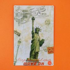 Placa Decorativa Metal New York! - 20x30cm - Placa decorativa de metal estampa colorida. Frase: Keep heautifull state, move on. Estátua da Liberdade nos Estados Unidos Tamanho20x30cm