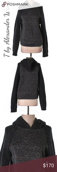 """T by Alexander Wang Pullover Hoodie in Gray T by Alexander Wang salt and pepper sweater/hoodie. So soft and comfy!!! Please allow 2-3 days to ship.   Measurements 38"""" Chest, 25"""" Length Materials 100% Polyester   Retail $190 Brisette #93t17111663 Alexander Wang Sweaters Crew & Scoop Necks"""