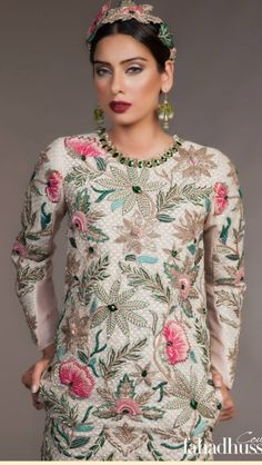 Fahad Hussayn Pakistani Formal Dresses, Pakistani Outfits, Indian Dresses, Indian Outfits, Pakistani Gharara, Walima, Indian Clothes, Embroidery Suits Design, Embroidery Fashion
