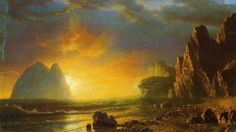 Sunset Coast Luminism Landsacpes Albert Bierstadt Sea Colors Photo