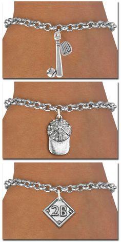 Baseball Softball Bracelet - Silver Chain Bracelet with Silver Charm
