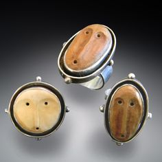 Spirit Rings by Patricia McCleery Spirit Rings Inspired by ancient tribal masks: Fossilized Ivory set in silver