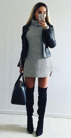 Black leather jacket, high boots, bag, gray sweater dress. Fall autumn street style