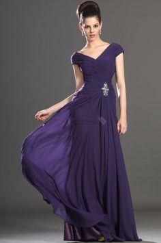 Grape Natural Waist Spring Misses Pleated Bodice Summer V-Neck Mother Of The Bride Dress