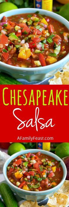 This looks like a fun one to try! // Chesapeake Salsa - A uniquely flavored salsa with fresh cucumber, Old Bay Seasoning, tomatoes, peppers and lime. Make Ahead Appetizers, Appetizer Dips, Mexican Dishes, Mexican Food Recipes, Cooking Recipes, Healthy Recipes, Delicious Recipes, Healthy Fit, Dip Recipes