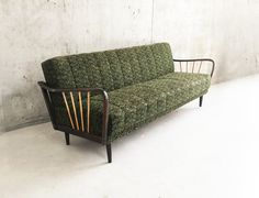 German Mid Century Sofa Bed with Original Green Upholstery Mid Century Sofa Bed, Mid Century Furniture, Retro Furniture, Antique Furniture, Sofas, Love Seat, Upholstery, Couch, The Originals