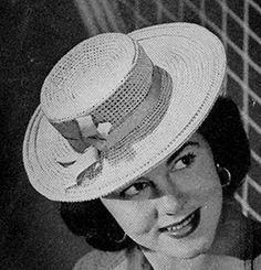 Sailor Hat #crochet pattern originally published in Easy to Make Hats, Spool Cotton Co #192.