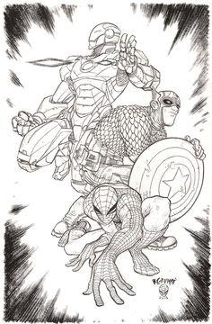 Iron Man, Captain America & Spider-Man by Rafael Grampa