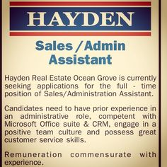 Were Hiring!  Hayden Real Estate Ocean Grove are looking for a Sales/Admin Assistant to help out our wonderful sales team. If working in a fun and rewarding team environment appeals to you we want to hear from you! (03)5255 1000. #oceangrove #job #haydenoceangrove #geelong #bellarinepeninsula #realestate by hayden_oceangrove http://ift.tt/1JO3Y6G