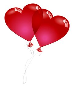 Red Valentine Heart Baloons PNG Clipart Picture