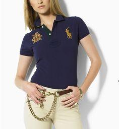 3fdcf9060af630 Ralph Lauren V-neck Big Pony Embroidery Darkblue Short Sleeved