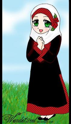 Palestinian girl with Hijab ^^ Palestinian girl 2 Cartoon Pics, Cute Cartoon, Hijab Dp, Hijab Drawing, Ramadan Activities, Cactus Painting, Anime Muslim, Hijab Cartoon, Islamic Girl