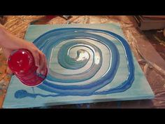 Acrylic Pour with Blues - YouTube